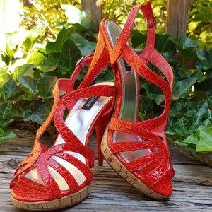 Ladies 9.5M Faux Croc Heels